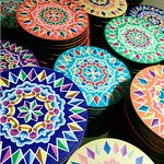 Celebrating the colors and traditions of Costa Rica. Coasters with traditional art cart designs.