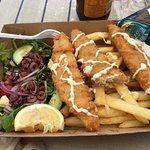 Baramundi, chips & Greek salad. Very nice