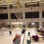 Bird's-eye view of hotel lobby