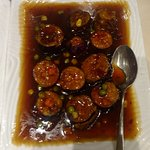 crispy eggplant in spicy Szechuan sauce