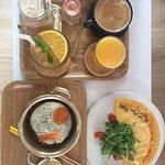 Omelette, noodle bowl, hot/iced coffee, OJ & a citronella & honey iced tea