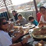 spanish family in terrace Panorama