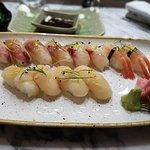 Tai (Sea bream) Suzuki (sea bass) Amaebi (sweet shrimp) Hotate (scallop)