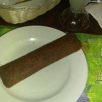 Alcapurrias, rice and peas steak, lemonade, flan