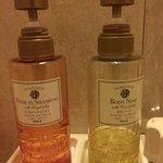 pump shampoo and body soap in ensuite bathroom & communal bath