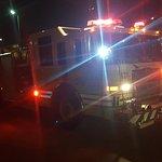 Fire truck attending the hotel