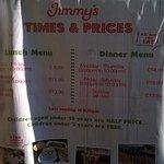 price list outside the restaurant