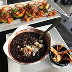 Black bean soup and vegetarian avocados