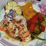 Shrimp with potato, veggies and corn soufflé