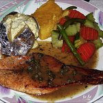 Grilled salmon with potato, mixed veggies and corn soufflé