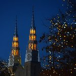 Towers of Notre Dame Basilica at night