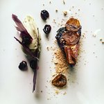 """Shades of Blue"", cabbage, maple leaves, elderberry, preserved mushroooms"
