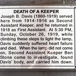 Plaque on stairs in lighthouse were keeper dropped dead.