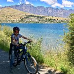 Beautiful view from our apartment and lovely cycle ride along the lake into Queenstown