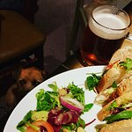 Lovely club sandwich and guest ale