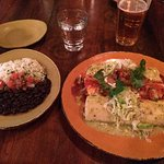 Combo enchiladas with a Stone IPA