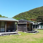 2 bed cabins in the foreground and bunkrooms in the building behind