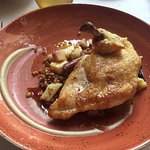 pan-roasted mary's chicken: roasted root vegetables, spelt, celery roots purée, chicken jus