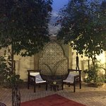 Beautiful riad courtyard at night