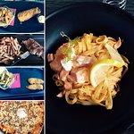 Tagliatelles au saumon, Fish'n'chips, Faux filet, nuggets frites et pizza Mama Lucia