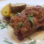 Crispy chicken, roast potatoes and satoimo