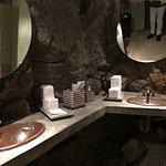 Even the bathroom has natural stone walls