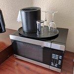 In-room microwave (mini-fridge under table)