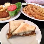 meatloaf sandwich, fish and chips, crab cake sandwich