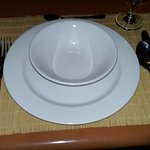 Table set nice when we arrived but with dirty placemat wow