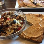 Our breakfast this morning.  New items - superfoods bowl and lemon, blueberry quinoa pancakes an