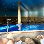 Relaxing by the pool at Whittlebury Hall Spa