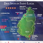 Dive map of St. Lucia
