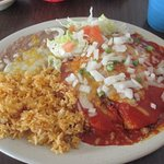 beef enchilada plate with red sauce