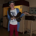 Holding an Olive Python at Alice Springs Reptile Centre