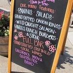 sandwich board outside restaurant