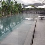 The pool was heated, for all weather use The whole scene around it is similar to a W Hotel.
