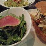 Chicken Sandwich. Salad with Watermelon Radish.