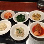 Korean Side Dishes with every entree. + extras if you want them no charge.