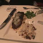 Ribeye with blue cheese on top. Yummy in my tummy.