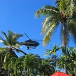 Helicopter landing in the middle of the resort