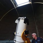 Les adjusting the telescope in the East Dome