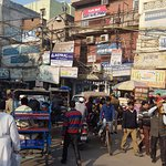 View from street above Chandi Chowk metro stop