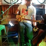 Open mike with garry's homemade cigar box guitar. Cost me a pint of Irish IPA but worth every ce