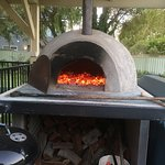 pizza oven still glowing after our full on meal