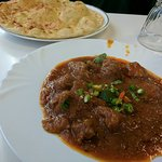 Garlic naan and Lamb Karahi