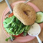 Sesame bagel with avocado and walnut&honey creamcheese