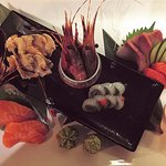Selection of daily sashimi with fresh wasabi
