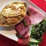 Gambas sauce exotique , Boulet Rochelais sauce au foie gras, Patiflette, pâtes fraîches maison a