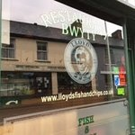 Lloyds Fish and Chip Shop - the signage outside the main entrance into their take-away