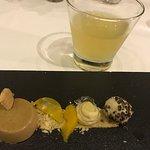Coffee panna cotta, amarula brulee,cocoa nib ice cream